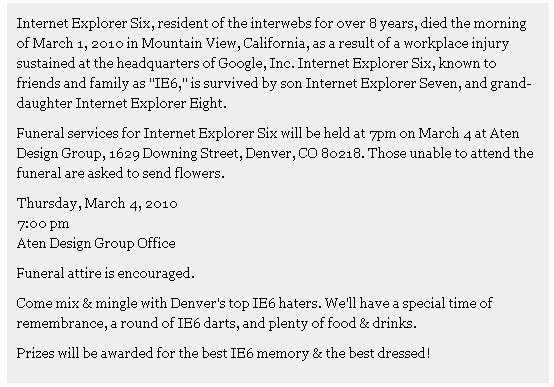ie6 death notice funeral