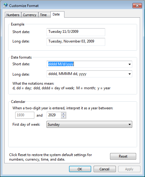 time Windows 7: Add the full day of the week to the system tray on Win7